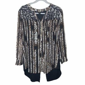 Black label by Chico's Leopard high low zip back semi sheer blouse